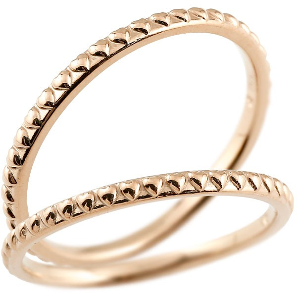 ハート ペアリング マリッジリング ピンクゴールドk18 リング 結婚指輪 結婚記念リング ウェディングリング ブライダルリング 極細 華奢 アンティーク ストレート 地金リング 宝石なし 2本セット 18金【コンビニ受取対応商品】 指輪 送料無料