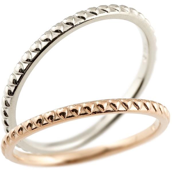 ハート ペアリング マリッジリング ピンクゴールドk18 ホワイトゴールドk18 リング 結婚指輪 結婚記念リング ウェディングリング ブライダルリング 極細 華奢 アンティーク ストレート 地金リング 宝石なし 2本セット 18金 指輪 送料無料