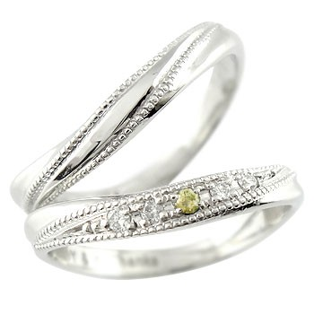 ペアリング マリッジリング 結婚指輪 ダイヤ ダイヤモンド ホワイトゴールドk18 結婚記念リング ウェディングリング ブライダルリング ペリドット 8月誕生石 ミル打ち 2本セット 18k 18金【コンビニ受取対応商品】 指輪 送料無料