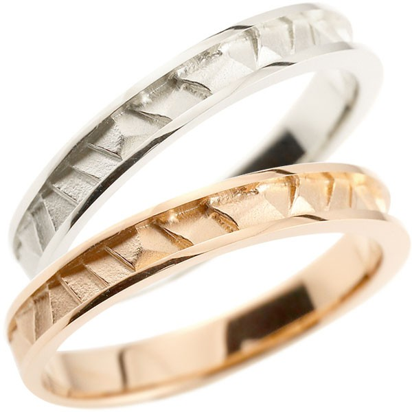 結婚指輪 ペアリング マリッジリング プラチナ ピンクゴールドk18 ストレート 宝石なし 地金 pt900 18金 ブライダルリング 結婚式 結婚記念 裏抜きなし カップル【コンビニ受取対応商品】 指輪 大きいサイズ対応 送料無料