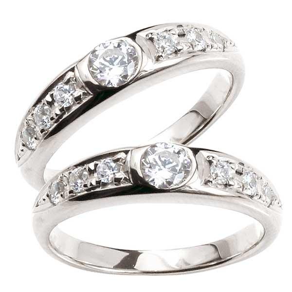 鑑定書付き ペアリング 結婚指輪 マリッジリング ダイヤ ダイヤモンド リング プラチナ PT900 リング 2本セット【コンビニ受取対応商品】 指輪 大きいサイズ対応 送料無料