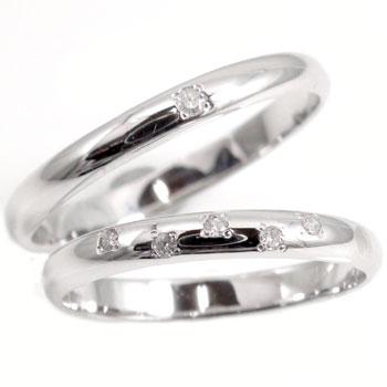 【2人の一途な愛を誓う 幸せの証】  ペアリング 結婚指輪 マリッジリング ホワイトゴールドk18 ダイヤ ダイヤモンド ソリティア 指輪 k18wg ハンドメイド 2本セット甲丸 18k 18金【コンビニ受取対応商品】 クリスマス 指輪 大きいサイズ対応 送料無料