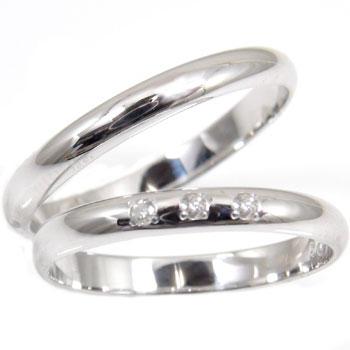ペアリング 結婚指輪 マリッジリング ペアリング ダイヤ ダイヤモンド ホワイトゴールドk18結婚指輪 結婚記念リング 2本セット 甲丸18k 18金【コンビニ受取対応商品】 指輪 大きいサイズ対応 送料無料