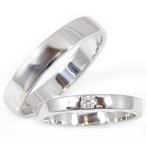 [送料無料]ペアリング 結婚指輪 マリッジリング ダイヤ ダイヤモンド ソリティア ホワイトゴールドk18指輪 ハンドメイド 2本セット18k 18金【コンビニ受取対応商品】