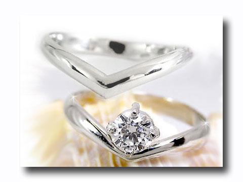 [送料無料]ペアリング 結婚指輪 マリッジリング ダイヤ ダイヤモンド リングホワイトゴールドk18 k18wgリング2本セット V字18k 18金【コンビニ受取対応商品】