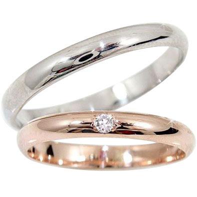 [送料無料]最短納期ペアリング ホワイトゴールドk18 ピンクゴールドk18 ダイヤ ダイヤモンド 結婚指輪 マリッジリング ハンドメイド 2本セット 甲丸18k 18金【コンビニ受取対応商品】