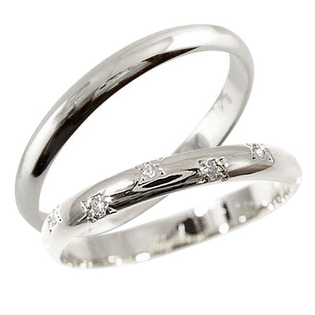 結婚指輪 マリッジリング ペアリング ホワイトゴールドk18 18k 18金ダイヤ ダイヤモンド k18wg ハンドメイド 2本セット 甲丸【コンビニ受取対応商品】 指輪 大きいサイズ対応 送料無料