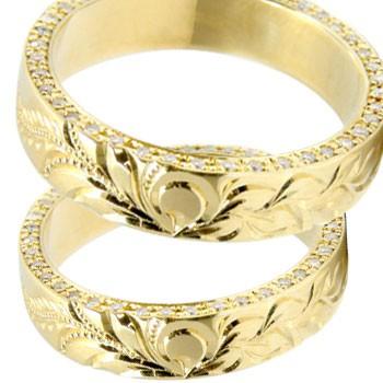 ハワイアンジュエリー ペアリング マリッジリング 結婚指輪 イエローゴールドk18 葉 マイレ フルエタニティー ダイヤモンド 結婚記念リング ウェディングリング ブライダルリング ハワジュ hawaii 2本セット 幅広 ブライダルジュエリー 送料無料