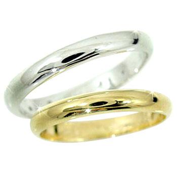 結婚指輪 マリッジリングペアリング イエローゴールドK18 ホワイトゴールドK18 ハンドメイド2本セット 甲丸【コンビニ受取対応商品】 指輪 大きいサイズ対応 送料無料