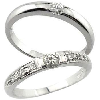 ペアリング 結婚指輪 マリッジリング 一粒ダイヤ ダイヤモンド ホワイトゴールドk18 2本セット18k 18金【コンビニ受取対応商品】 指輪 大きいサイズ対応 送料無料