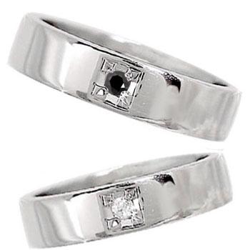 ペアリング 結婚指輪 マリッジリング プラチナ 一粒ダイヤモンド ブラックダイヤモンド 幅広 ハンドメイド 2本セット【コンビニ受取対応商品】 指輪 大きいサイズ対応 送料無料