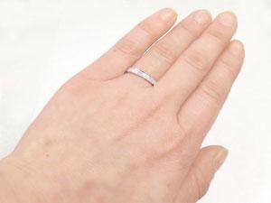 []ペアリング 結婚指輪 マリッジリング ホワイトゴールドk18 ダイヤモンド アクアマリン ハーフエタニティ 3月誕生石 ハンドメイド 2本セット18k 18金【楽ギフ_包装】【コンビニ受取対応商品】