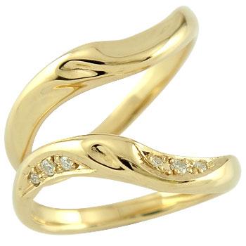 [送料無料]ペアリング 結婚指輪 マリッジリング ダイヤモンド イエローゴールドk18 ハンドメイド 2本セット18k 18金【コンビニ受取対応商品】