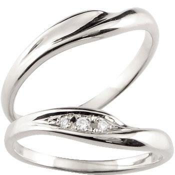 【2人の幸せをいつまでも見守るペアリング】  V字 ペアリング 結婚指輪 マリッジリング ホワイトゴールドk18 ダイヤモンド  ハンドメイド 2本セット18k 18金【コンビニ受取対応商品】 クリスマス 指輪 大きいサイズ対応 送料無料
