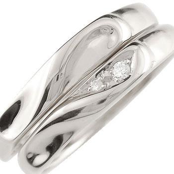 ペアリング 結婚指輪 マリッジリング プラチナ ダイヤモンド ハート ハンドメイド 2本セット【コンビニ受取対応商品】 指輪 大きいサイズ対応 送料無料