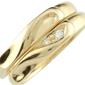 [送料無料]ペアリング 結婚指輪 マリッジリング ダイヤモンド ハート イエローゴールドk18 合わせるとハート ハンドメイド 2本セット18k 18金【コンビニ受取対応商品】