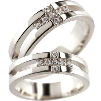 クロス プラチナ ペアリング 結婚指輪 マリッジリング ダイヤモンド ダイヤ 幅広 2本セット【コンビニ受取対応商品】 指輪 大きいサイズ対応 送料無料