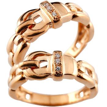 ペアリング 結婚指輪 マリッジリング ダイヤモンド ダイヤ ピンクゴールドk18 ベルト バックル デザイン 2本セット18k 18金【コンビニ受取対応商品】 指輪 大きいサイズ対応 送料無料