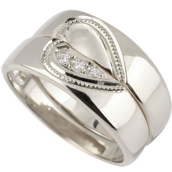 2018セール ペアリング 結婚指輪 マリッジリング プラチナ プラチナ900 ハート 合わせるとハート ミル打ち ハンドメイド 2本セット 【】【コンビニ受取対応商品】 指輪 大きいサイズ対応 送料無料, インポートセレクトSHOPでらでら 4a74e3ab