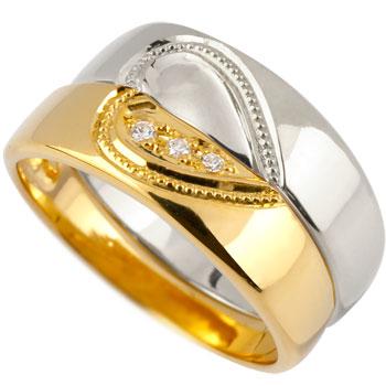 ペアリング 結婚指輪 マリッジリング プラチナ プラチナ900 イエローゴールドk18 ハート 合わせるとハート ミル打ち ハンドメイド 2本セット 18k 18金【コンビニ受取対応商品】 指輪 大きいサイズ対応 送料無料