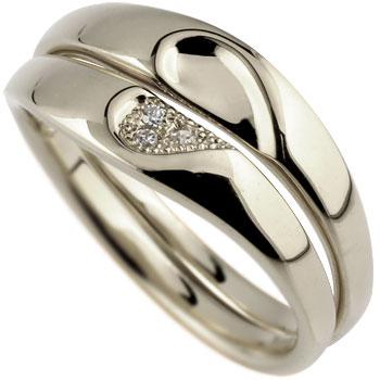 ペアリング ダイヤモンド 結婚指輪 マリッジリング ハート ホワイトゴールドk18 ミル打ち 合わせるとハート ハンドメイド 2本セット 18k 18金【コンビニ受取対応商品】 指輪 大きいサイズ対応 送料無料