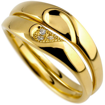 【ふたりの誓いをカタチにハートペアリング】 ペアリング ダイヤモンド 結婚指輪 マリッジリング ハート イエローゴールドk18 ミル打ち 合わせるとハート ハンドメイド 2本セット18k 18金【コンビニ受取対応商品】 クリスマス 指輪 大きいサイズ対応 送料無料