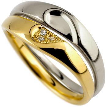 [送料無料]ペアリング ダイヤモンド 結婚指輪 マリッジリング ハート ホワイトゴールドk18 イエローゴールドk18 ミル打ち 合わせるとハート ハンドメイド 2本セット18k 18金【コンビニ受取対応商品】