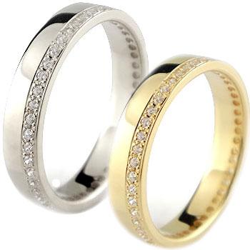 ペアリング 結婚指輪 マリッジリング イエローゴールドk18 ホワイトゴールドk18 フルエタニティ ダイヤモンド ハンドメイド 2本セット18k 18金【コンビニ受取対応商品】 指輪 大きいサイズ対応 送料無料