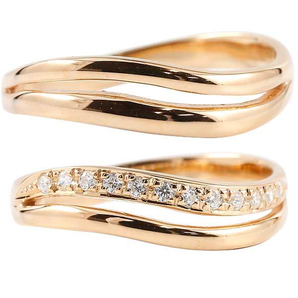 18金 18k 結婚指輪 マリッジリング ペアリング ピンクゴールドk18 ダイヤモンド 2連 ウェーブライン ハンドメイド 2本セット【コンビニ受取対応商品】 指輪 大きいサイズ対応 送料無料