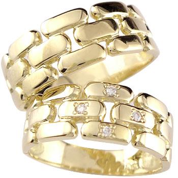 結婚指輪 マリッジリング ペアリング ダイヤ ダイヤモンド 4石 イエローゴールドk18 ハンドメイド 幅広 2本セット 18k 18金【コンビニ受取対応商品】 指輪 大きいサイズ対応 送料無料