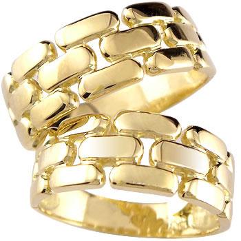 ペアリング イエローゴールドk18 結婚指輪 マリッジリング 幅広 2本セット 18k 18金【コンビニ受取対応商品】 指輪 大きいサイズ対応 送料無料
