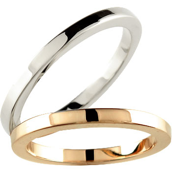 [送料無料]結婚指輪 マリッジリング ペアリング ホワイトゴールドk18ピンクゴールドk18リング指輪k18wgk18PG 結婚記念リング 2本セット18k 18金【コンビニ受取対応商品】