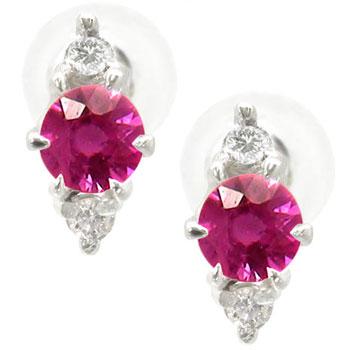 7月の誕生石ルビー4月の誕生石ダイヤモンド:ダイアピアス ルビーピアス ダイヤモンド NEW ARRIVAL 今だけスーパーセール限定 ダイヤピアス 18金 コンビニ受取対応商品 送料無料 ホワイトゴールドk1818k