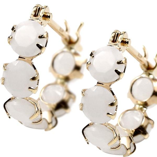 [あす楽]フープピアス ホワイトジャスパー イエローゴールドk10 10金 丸 輪っか クロッシング金具 宝石 白い宝石 レディース【コンビニ受取対応商品】