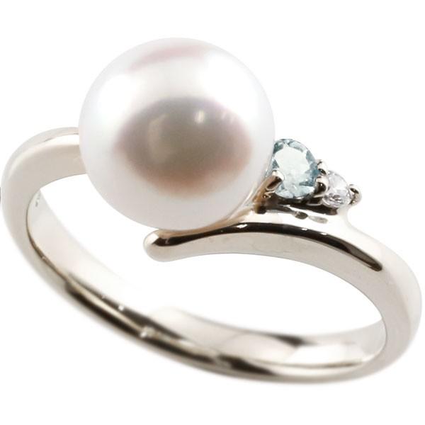 []真珠 指輪 パール プラチナ900 アクアマリン ダイヤモンド リング ピンキーリング 本真珠 ダイヤ レディース【楽ギフ_包装】【コンビニ受取対応商品】
