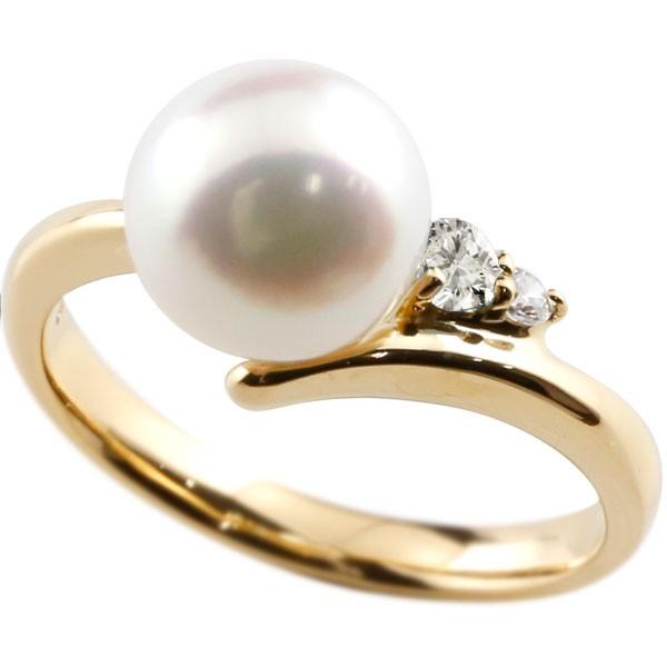真珠 指輪 パール ダイヤモンド リング イエローゴールドk18 ピンキーリング 本真珠 ダイヤ 18金 18k レディース【コンビニ受取対応商品】 大きいサイズ対応 送料無料