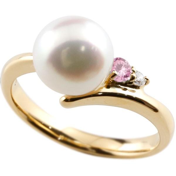 真珠 指輪 パール ピンクサファイア ダイヤモンド リング イエローゴールドk18 ピンキーリング 本真珠 ダイヤ 18金 18k レディース【コンビニ受取対応商品】 大きいサイズ対応 送料無料