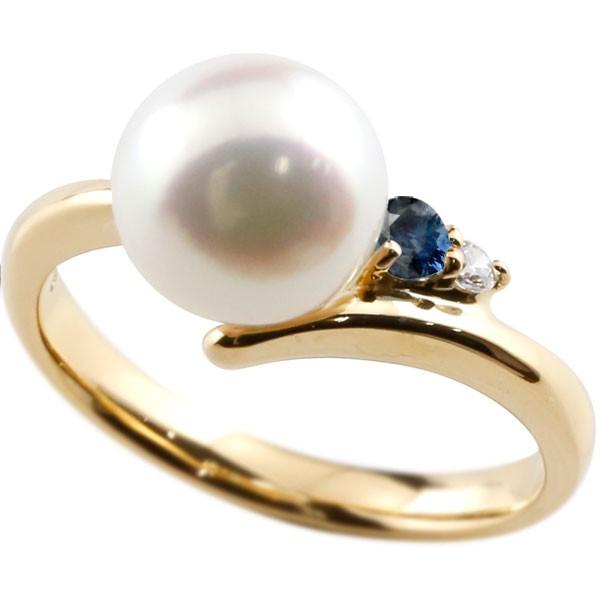 真珠 指輪 パール サファイア ダイヤモンド リング イエローゴールドk18 ピンキーリング 本真珠 ダイヤ 18金 18k レディース【コンビニ受取対応商品】 大きいサイズ対応 送料無料