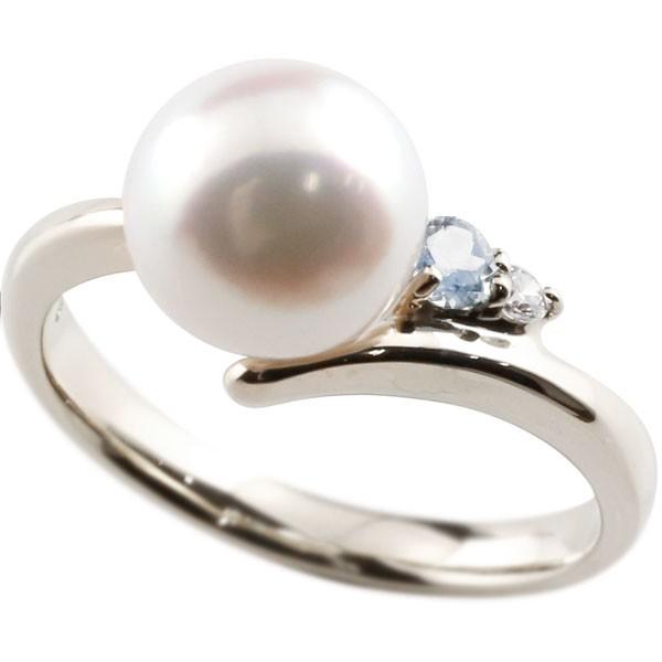 真珠 指輪 パール ブルームーンストーン ダイヤモンド リング ホワイトゴールドk18 ピンキーリング 本真珠 ダイヤ 18金 18k レディース【コンビニ受取対応商品】 大きいサイズ対応 送料無料