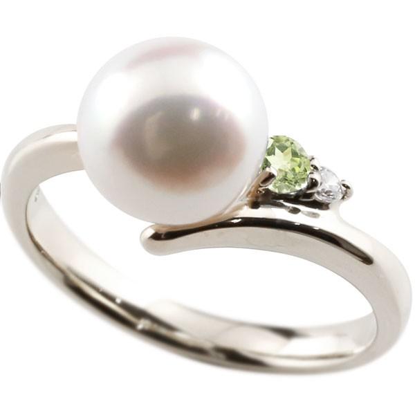 ダイヤとペリドットが煌めく高級感溢れるあこや本真珠 真珠 指輪 パール プラチナ900 ペリドット ダイヤモンド 新作からSALEアイテム等お得な商品 満載 安売り リング レディース 送料無料 ピンキーリング 本真珠 大きいサイズ対応 コンビニ受取対応商品 ダイヤ