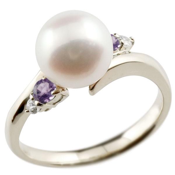 真珠 指輪 パール プラチナ900 アメジスト ダイヤモンド リング ピンキーリング 本真珠 ダイヤ レディース【コンビニ受取対応商品】 大きいサイズ対応 送料無料