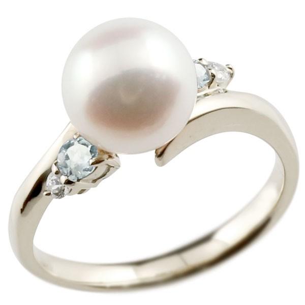 真珠 指輪 パール ホワイトゴールドk18 アクアマリン ダイヤモンド リング ピンキーリング 本真珠 ダイヤ 18金 18k レディース【コンビニ受取対応商品】 大きいサイズ対応 送料無料