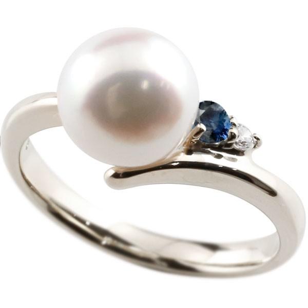 真珠 指輪 パール サファイア ダイヤモンド リング ホワイトゴールドk18 ピンキーリング 本真珠 ダイヤ 18金 18k レディース【コンビニ受取対応商品】 大きいサイズ対応 送料無料
