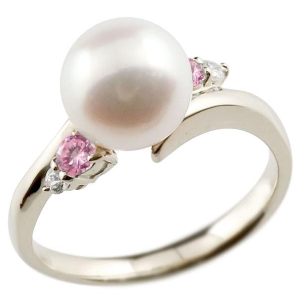 真珠 指輪 パール プラチナ900 ピンクサファイア ダイヤモンド リング ピンキーリング 本真珠 ダイヤ レディース【コンビニ受取対応商品】 大きいサイズ対応 送料無料
