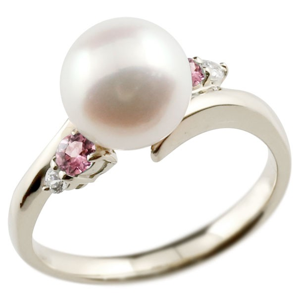 真珠 指輪 パール ホワイトゴールドk18 ピンクトルマリン ダイヤモンド リング ピンキーリング 本真珠 ダイヤ 18金 18k レディース【コンビニ受取対応商品】 大きいサイズ対応 送料無料
