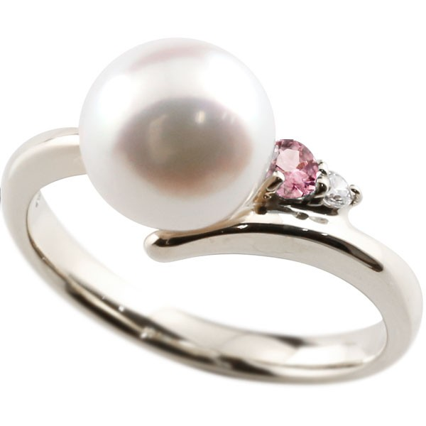 美品 ダイヤとピンクトルマリンが煌めく高級感溢れるあこや本真珠 真珠 指輪 パール 奉呈 プラチナ900 ピンクトルマリン ダイヤモンド リング コンビニ受取対応商品 大きいサイズ対応 ダイヤ 本真珠 送料無料 ピンキーリング レディース