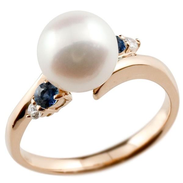 真珠 指輪 パール ピンクゴールドk18 サファイア ダイヤモンド リング ピンキーリング 本真珠 ダイヤ 18金 18k レディース【コンビニ受取対応商品】 大きいサイズ対応 送料無料
