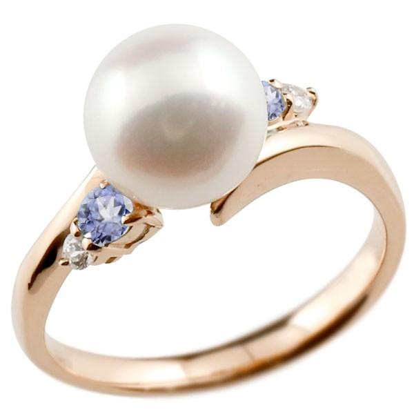 真珠 指輪 パール ピンクゴールドk18 タンザナイト ダイヤモンド リング ピンキーリング 本真珠 ダイヤ 18金 18k レディース【コンビニ受取対応商品】 大きいサイズ対応 送料無料