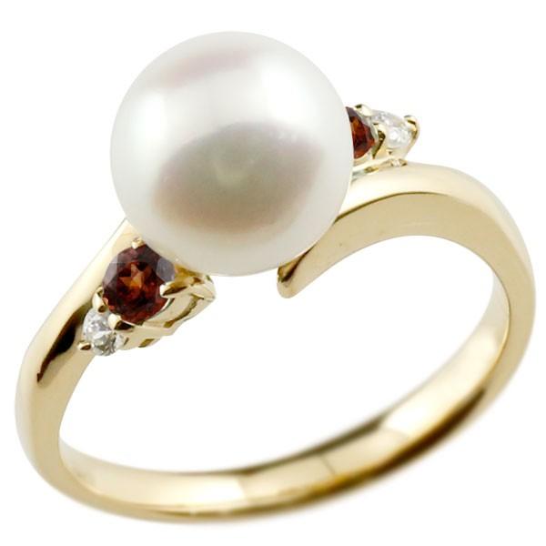 真珠 指輪 パール イエローゴールドk18 ガーネット ダイヤモンド リング ピンキーリング 本真珠 ダイヤ 18金 18k レディース【コンビニ受取対応商品】 大きいサイズ対応 送料無料