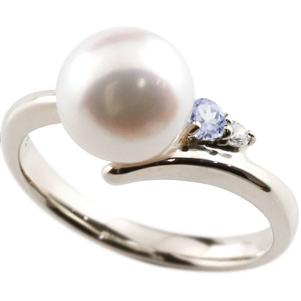 ダイヤとタンザナイトが煌めく高級感溢れるあこや本真珠 真珠 指輪 パール プラチナ900 タンザナイト 日本正規代理店品 ダイヤモンド リング コンビニ受取対応商品 本真珠 レディース 大きいサイズ対応 ダイヤ 送料無料 直営店 ピンキーリング